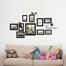 10x Picture Photo Frame Set Wall Black Frames Sticker Vinyl Decal DIY Gift