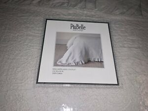 PiuBelle Cotton King Ruffled Matelasse Coverlet Quilt Grey Shabby Chic Paisley