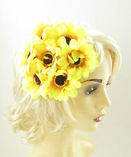 Yellow Sunflower Fascinator Flower Headpiece Races Wedding Rockabilly 1950s 488