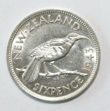 1943, Six Pence New Zealand Silver High Grad and Very High Value Coin