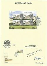 "MOLDOVA/2017, (AUTOGRAPHED BY ITS ARTIST MINI SHEET) EUROPA ""CASTLES"""