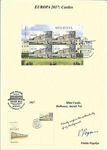 "MOLDOVA/2017, (AUTOGRAPHED BY ITS ARTIST MINI SHEET) EUROPA ""CASTLES"""