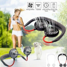 Double Fan Hand Free Wearable Portable Neckband Mini Sport Fan USB Rechargeable