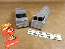 Midgetoy Die Cast Tow Truck and Oil Truck Unpainted with Insert and Decals