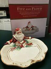 Fitz And Floyd Cardinal Christmas Santa Server Large Dish New In Box Beautiful!