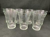 "Vintage Embossed Script PEPSI COLA Drinking Glasses 5"" Set of 7 Tumbler (a20)"