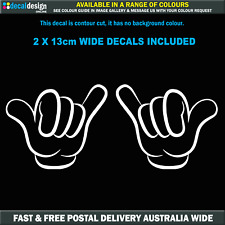 Shaka Hand Hang Loose decals x 2 for car window JDM style sticker #S011