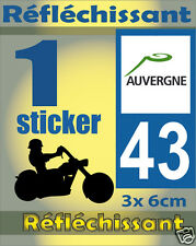 1 Sticker REFLECHISSANT département 43 rétro-réfléchissant immatriculation MOTO