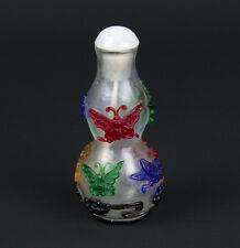 Cina 20. JH. a Chinese DOUBLE Gourd Overlay Glass snuff bottle-chinois cinese