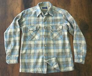 Vintage Pendleton Mens Virgin Wool Flannel Board Shirt Blue Plaid USA Sz Medium