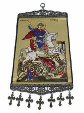 Authentic Woven Religious Tapestry Wall Hanging Orthodox Catholic Icons Large