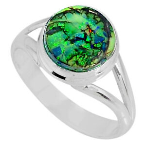 3.48cts Multi Color Sterling Opal 925 Silver Solitaire Ring Size 9 R62151