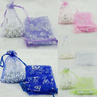 Wholesale 25/100Pcs Sheer Jewelry Pouch Wedding Favor Organza Gift Bags 9x7cm