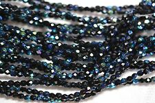 Czech Fire Polished 3mm round faceted glass beads - Jet AB