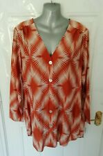 ❤ M&S Ladies Size 14 Rust Brown White Button Up Shirt Blouse Top Loose Fit