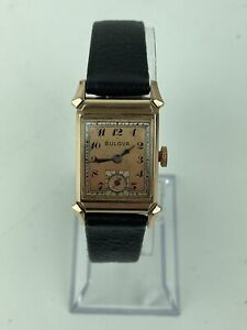 Vintage 1949 Men's Bulova 17J 8AE 10k RGP Bezel Watch - Runs