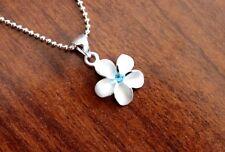 Hawaiian 925 Sterling Silver BLUE CZ PLUMERIA 12MM Pendant Necklace #SP43603