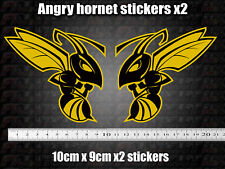 Angry Wasp Hornet Stickers x2 Moto GP laptop helmet bike car scooter yellow