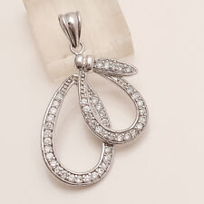 925 Sterling Silver Russian White Topaz Designer Tear Drop Pendant Charm Jewelry