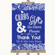 Wedding Sign Poster Print Navy Blue Burlap & Lace Cards & Gifts Table