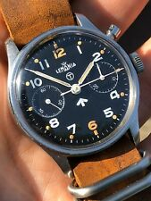 Vintage Lemania Chronograph British Military Royal Navy Mens Watch Swiss 38,5mm