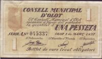 Banknotes Local - Olot - 1 Pta. Year 1937. Series A. MBC +