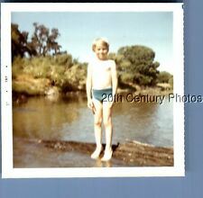 FOUND COLOR PHOTO L_6977 BOY IN SWIMSUNIT STANDING ON LOG IN WATER