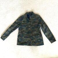 Gap Camo Jacket Snap Front Womens Size Medium Drawstrings Green Fleece Lined EUC