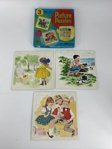 RARE Vintage Whitman Tell-a-Tale Picture Puzzles 3 PACK Puzzles No. 4414 NOS