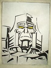 Canvas Painting Transformers Megatron Silver Face Art 16x12 inch Acrylic