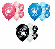 10 X 80th BIRTHDAY 12 HELIUM QUALITY PARTY BALLOONS PINK BLUE SILVER