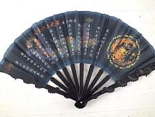 3 CHINESE BLACK DRAGON W POEM MARTIAL ART HAND FAN KUNG FU JAPANESE TAI CHI D1