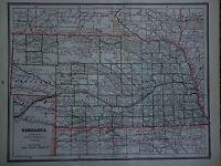 VINTAGE 1888 NEBRASKA FRONTIER MAP OLD ANTIQUE ORIGINAL ATLAS MAP *FREE SH080316