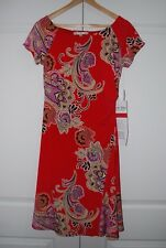 NWT Evan Picone Women's Stretch Dress Size 10 Style Fresh Picked Poppy Combo