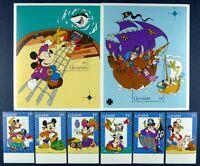 Grenada 1995 Disney Abenteuer auf hoher See Trickfilm 3066-71 + Block 406-407