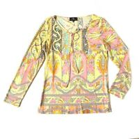 Etro Womens M Colorful Floral Blouse Tie Keyhole Neck Long Sleeve Top yellow