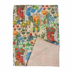 Indian Handmade Frida Khalo Fabric Cotton Kantha Quilt Throw Blanket Bedspread