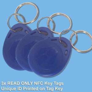 3x READ ONLY Blue 125Khz RFID NFC Proximity ID Card Token Tags Key Ring Cat Flap