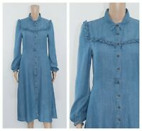 ex M&S Denim Chambrey Tencel Frills Buttons Pockets Shirt Midi Tea Dress