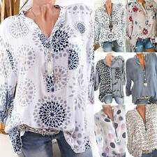 Plus Size Women V-Neck Long Sleeve Loose Tee Print Blouse Casual T-Shirt Tops
