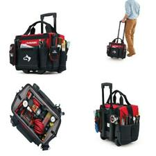 Rolling Heavy Duty Tool Tote Bag Large Compartment 13 Pockets With Handle 14 In.