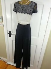 Smart NEXT Black & Cream Lace Evening Jumpsuit, UK 12 Tall, Exc Condition