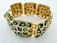 Vintage LEOPARD Light Green Rhinestone Link Panel Gold Tone Bracelet *EUC*
