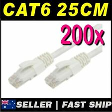 200x 25cm 0.25m White Cat 6 Cat6 Premium RJ45 Ethernet Network LAN Cable