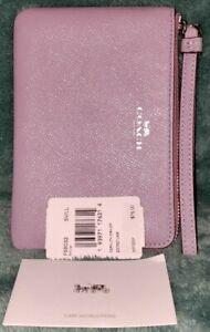 Auth Coach 58032💥NWT💥 Silver/Lilac  Cross-grain Leather Corner Zip Wristlet