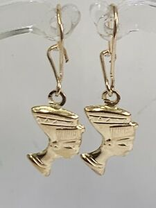 GORGEOUS 9CT YELLOW GOLD SMALL NEPHATITE DROP EARRINGS