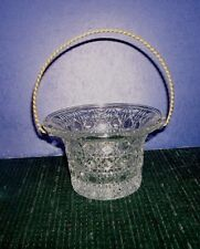Avon Clear Glass Basket - Button Windsor Pattern with Metal Handle