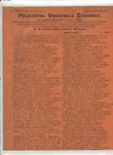 Vintage Letterhead PRUDENTIAL VAUDEVILLE EXCHANGE 1907 long list of acts repped