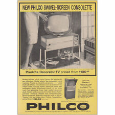 1959 Philco TV: Swivel Screen Consolette Predicta Decorator Vintage Print Ad