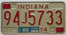 Indiana 1974 LAKE COUNTY License Plate NICE QUALITY # 94J5733